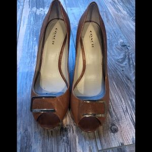 Coach brown open toe wedges